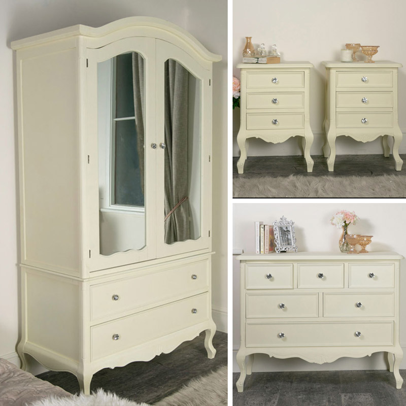 Cream Bedroom Furniture, Double Wardrobe, Chest of Drawers & Bedside Tables - Elise Cream Range