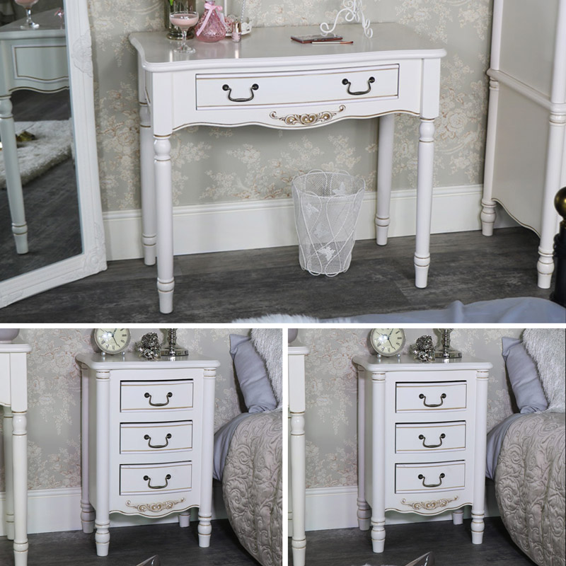 Cream Bedroom Furniture, Dressing Table & Pair of Bedside Tables - Adelise Range