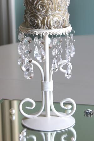 Cream Candle Stand with Crystals