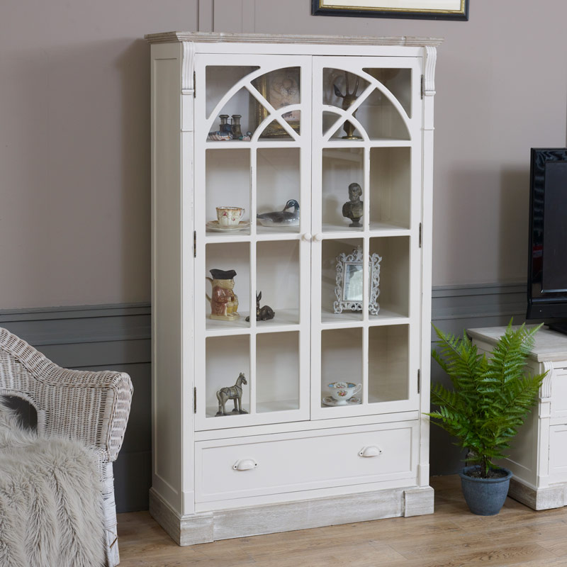 Cream Glazed Display Cabinet - Lyon Range SECONDS ITEM 3034