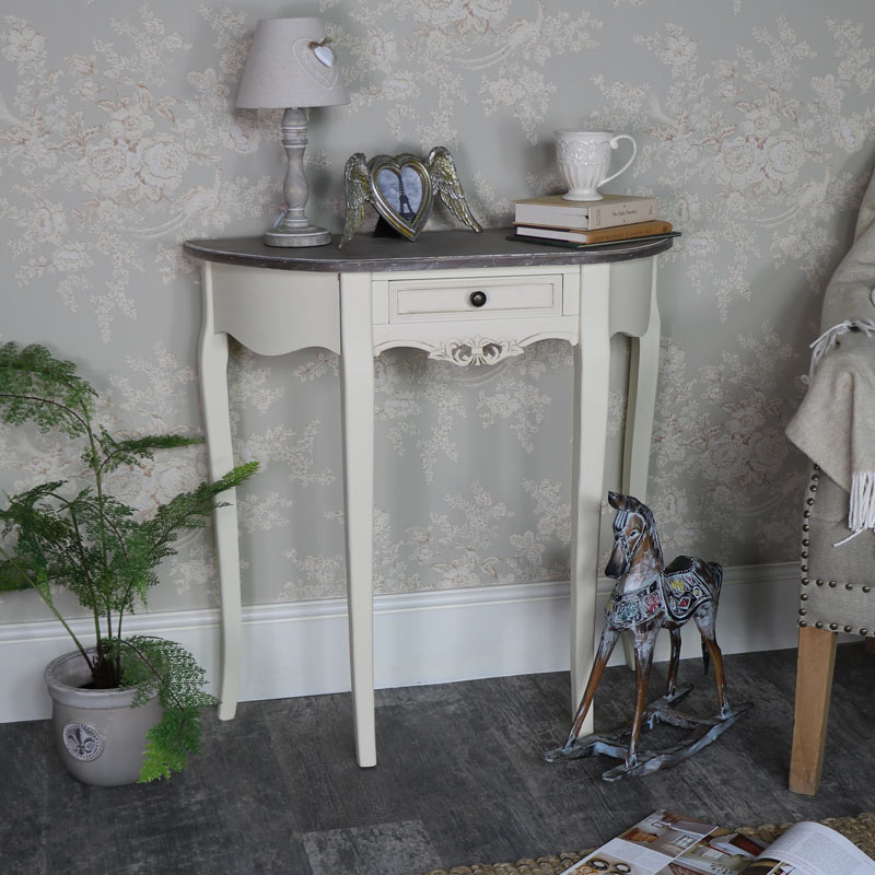 Cream Painted Half Moon Console Table French Chic Living