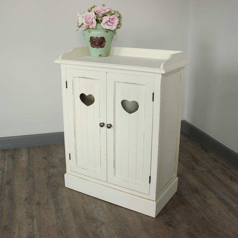 Ivory cream cupboard unit shabby french chic vintage heart furniture storage ebay Cream wooden furniture