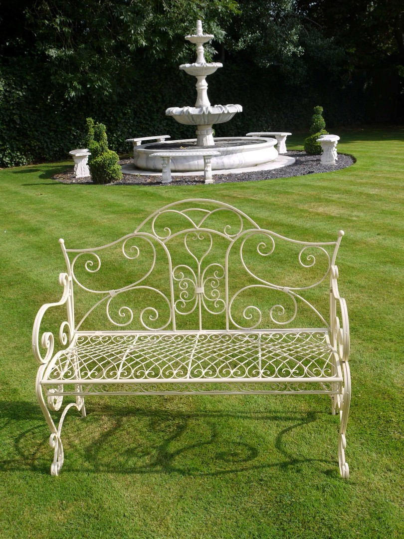 Cream Shabby Chic Metal Garden Bench