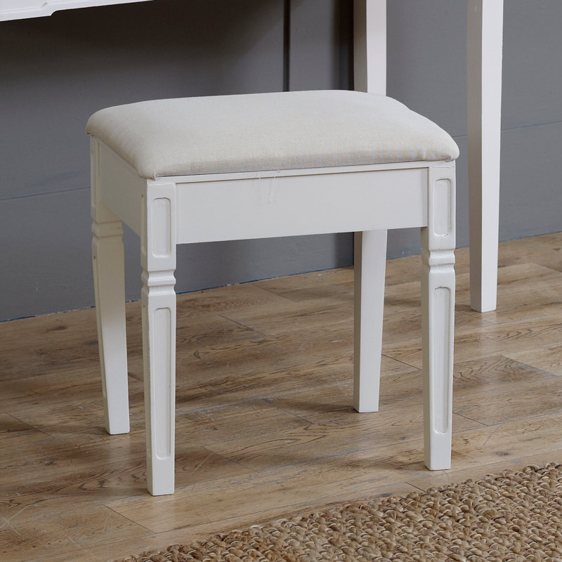 Cream Padded Bedroom Stool - Lyon Range
