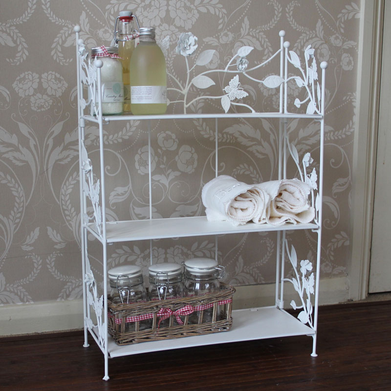 cream rose butterfly metal shelf unit bathroom bedroom. Black Bedroom Furniture Sets. Home Design Ideas