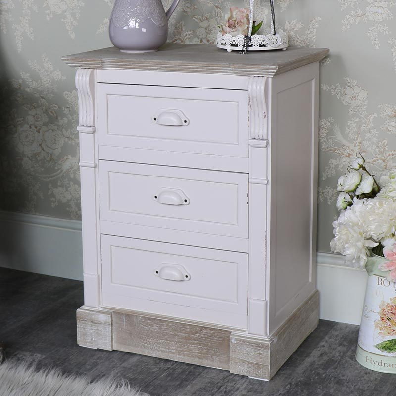 Cream Three Drawer Bedside Table - Lyon Range