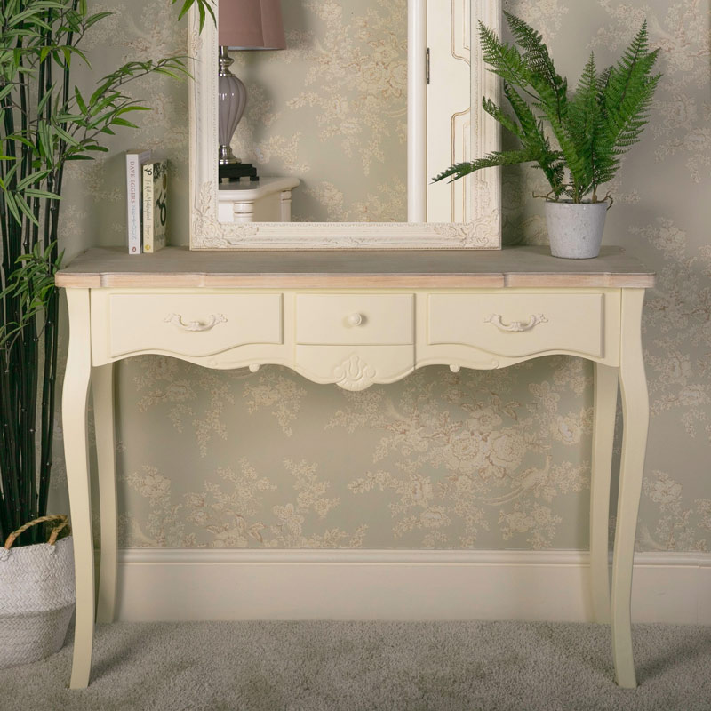 . Details about ornate cream wood 3 drawer console table vintage French chic  bedroom hallway