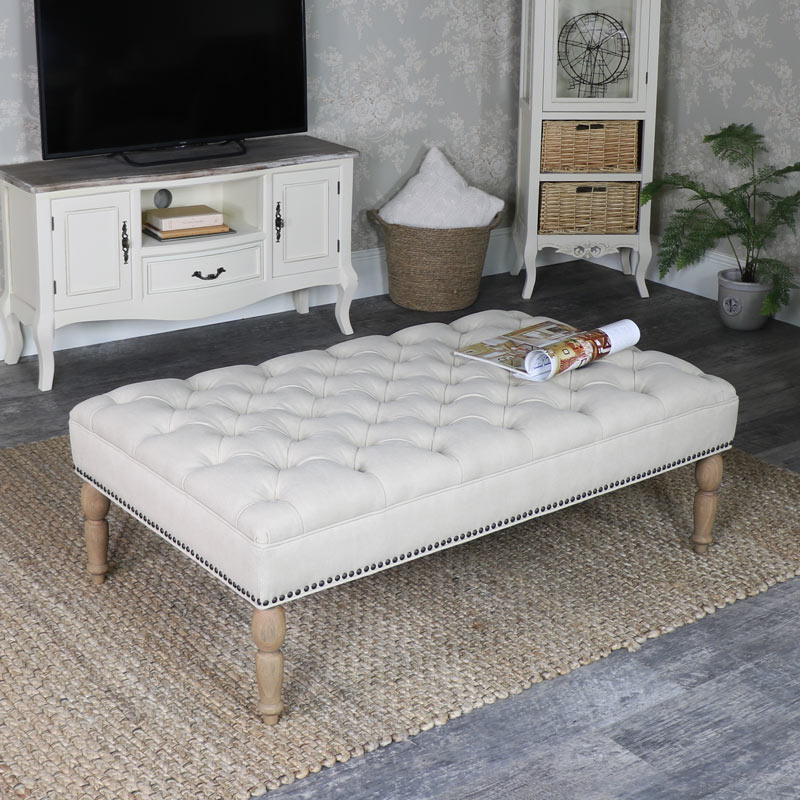 Cream Upholstered Linen Bench