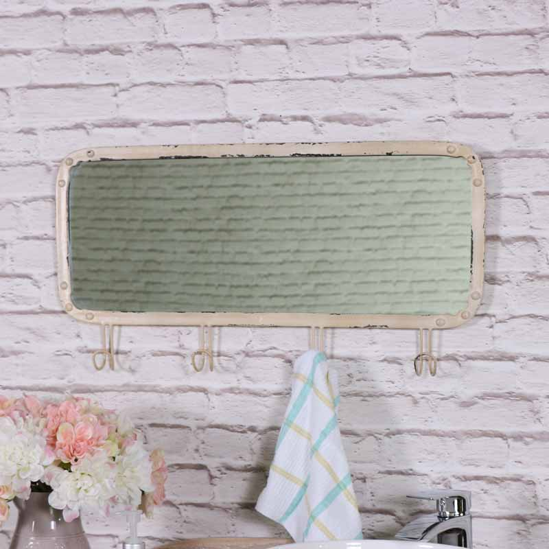 Cream Wall Mounted Mirror with Hooks 61cm x 31cm