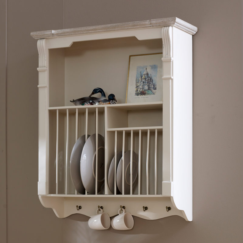 Kitchen Cabinets Plate Rack: Cream Wall Mounted Plate Rack Kitchen Crockery French