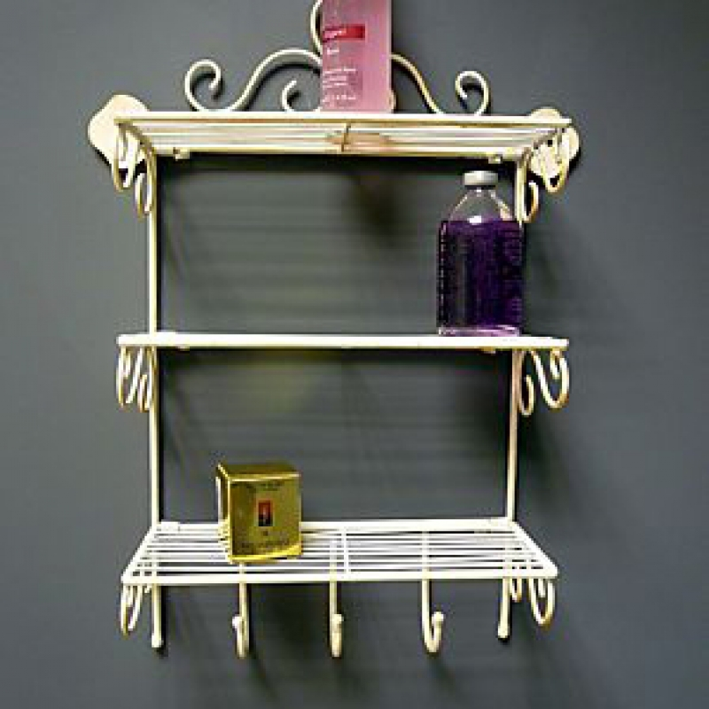 Cream Wire Wall Shelves with Hooks