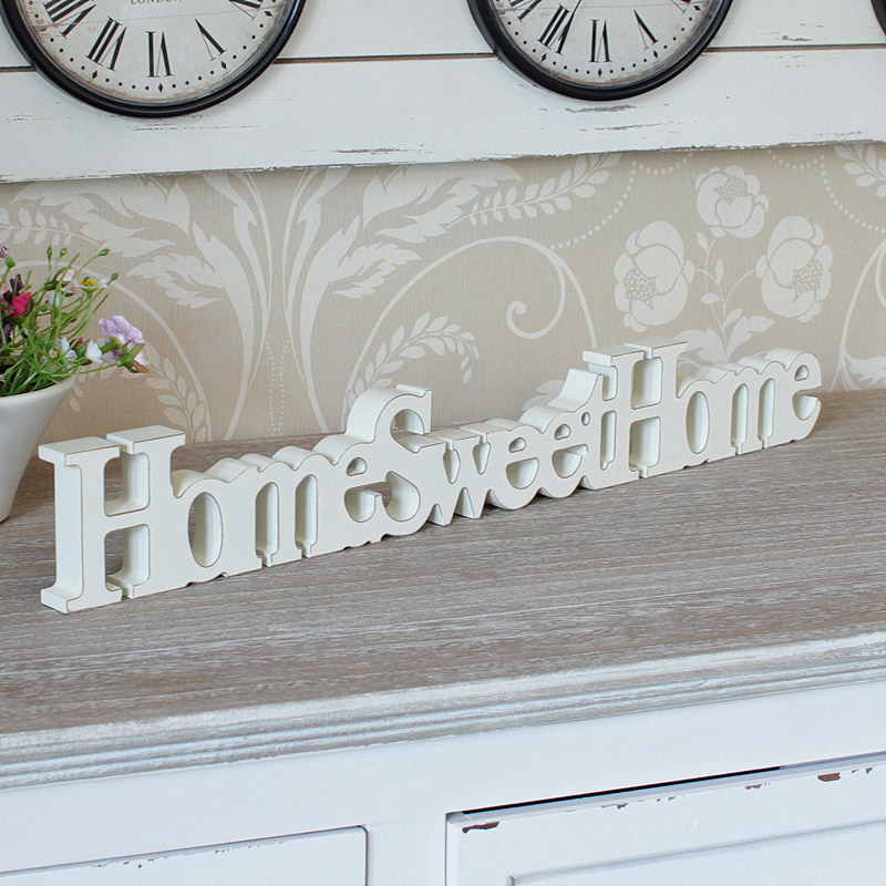 Cream wooden home sweet home free standing sign plaque ...