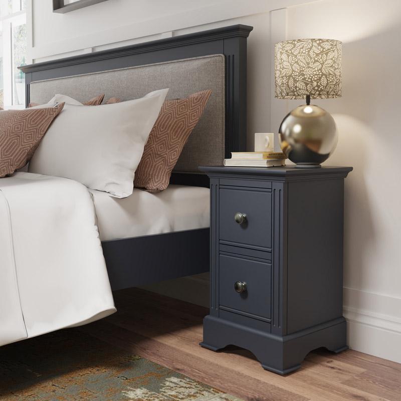 Dark Grey 2 Drawer Bedside Table - Brooklyn Range