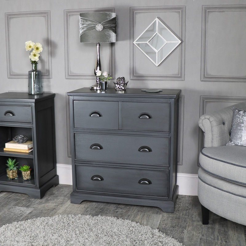 Dark Grey Vintage Large Chest of Drawers - Lancaster Range
