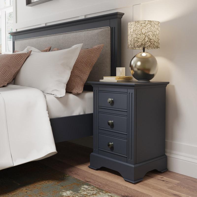Dark Grey Large Bedside Table - Brooklyn Range