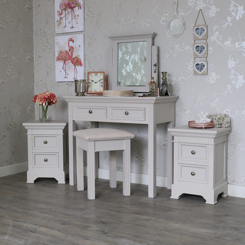 Grey Bedroom Furniture, Dressing Table set & Pair of Bedside Chests - Daventry Taupe-Grey Range