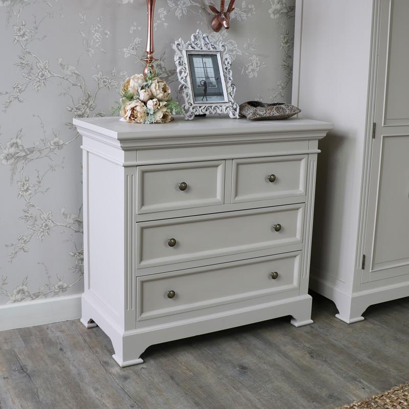 Grey Two Over Two Chest of Drawers - Daventry Taupe-Grey Range DAMAGED SECONDS ITEM 1000