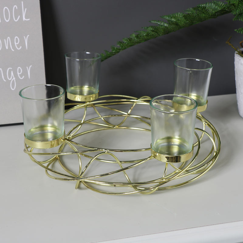 Decorative Gold Wire Tealight Candle Holder