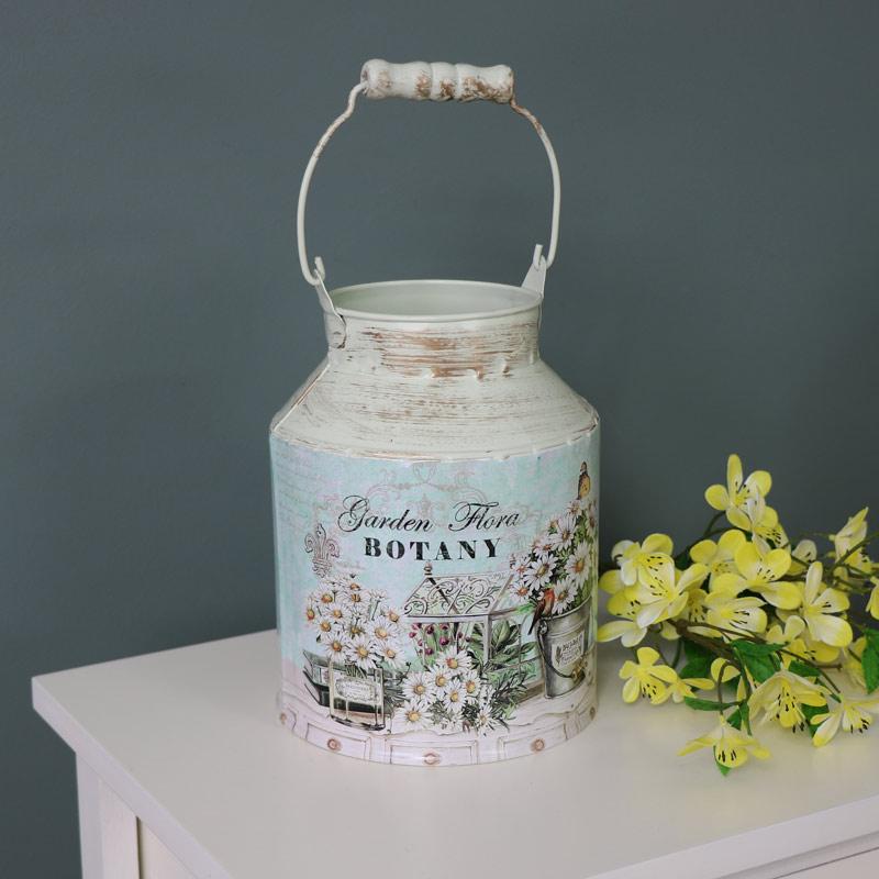 dekoratives metall butterfass vase klassischer shabby chic. Black Bedroom Furniture Sets. Home Design Ideas