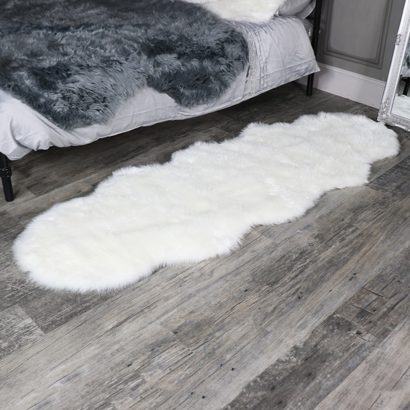 Double Pelt White Faux Fur Rug 65cm x 200cm