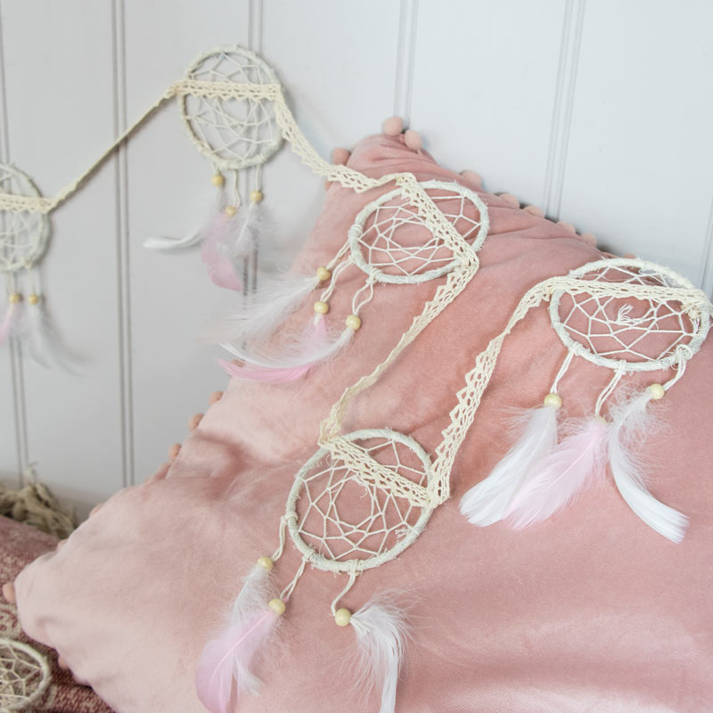 Dream Catcher Garland With Pink Feathers