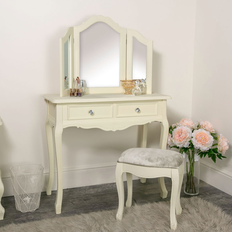 Details about Ornate cream painted dressing table stool mirror set French  bedroom furniture