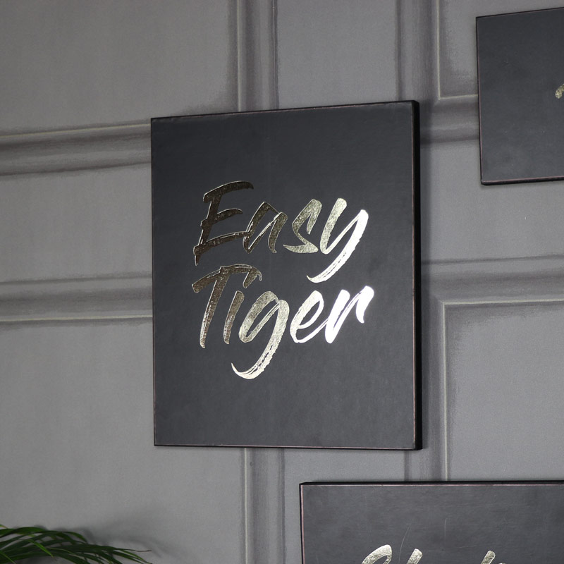 """Easy Tiger"" Black and Gold Wooden Wall Plaque"