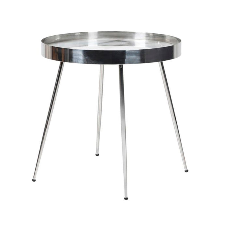 Round Silver Marble Topped Side Table