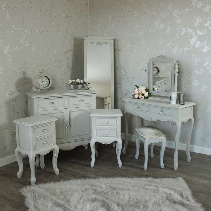 Bedroom Set, Grey Sideboard, Cheval Mirror, Dressing Table, Mirror, Stool and 2 Bedside Tables - Elise Grey Range