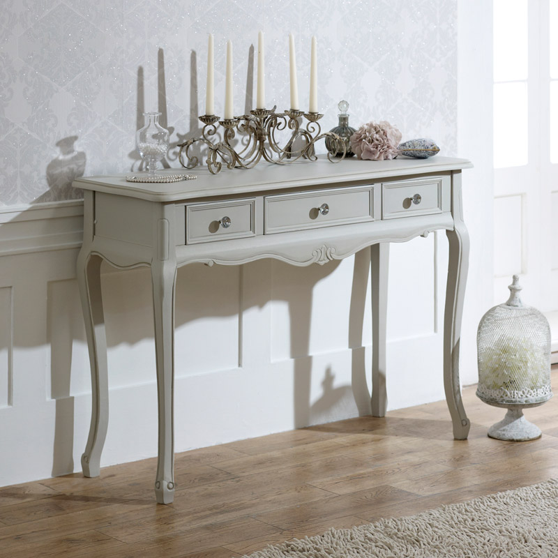 French Grey Vintage 3 Drawer Dressing Table - Elise Grey Range