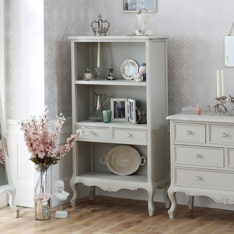 Elise Grey Range - Bookcase with Drawers