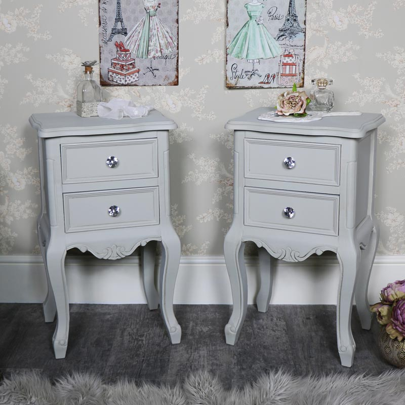 Details about Pair grey 2 drawer bedside table cabinets French shabby chic  bedroom furniture