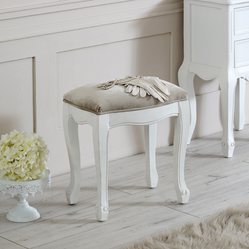 white padded dressing table stool shabby vintage chic french bedroom furniture ebay. Black Bedroom Furniture Sets. Home Design Ideas