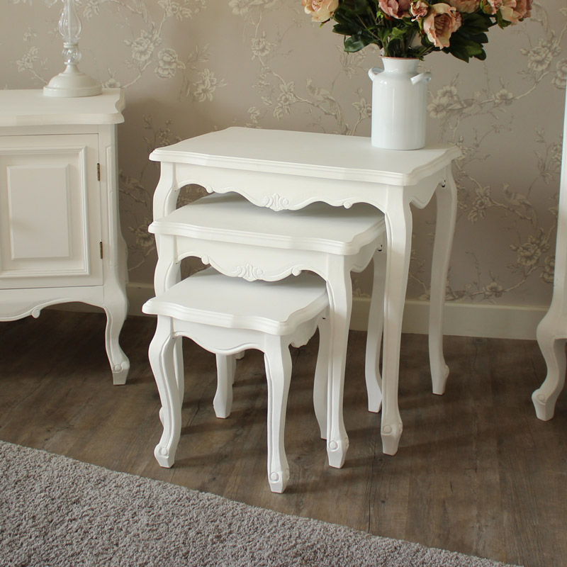White wooden nest of tables shabby ornate chic french - White wooden living room furniture ...