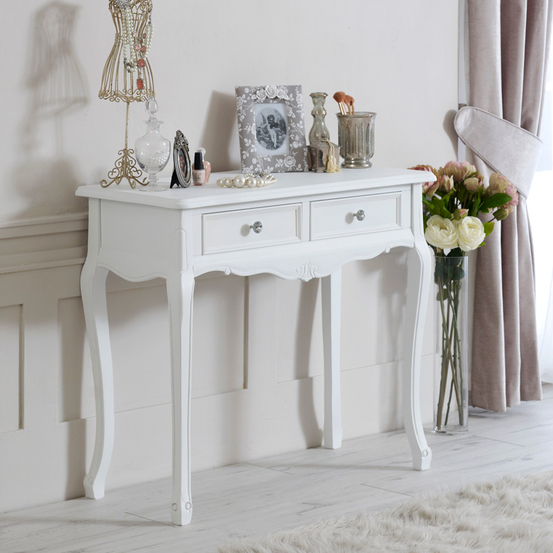 bois blanc console coiffeuse chic r tro rustique chambre. Black Bedroom Furniture Sets. Home Design Ideas