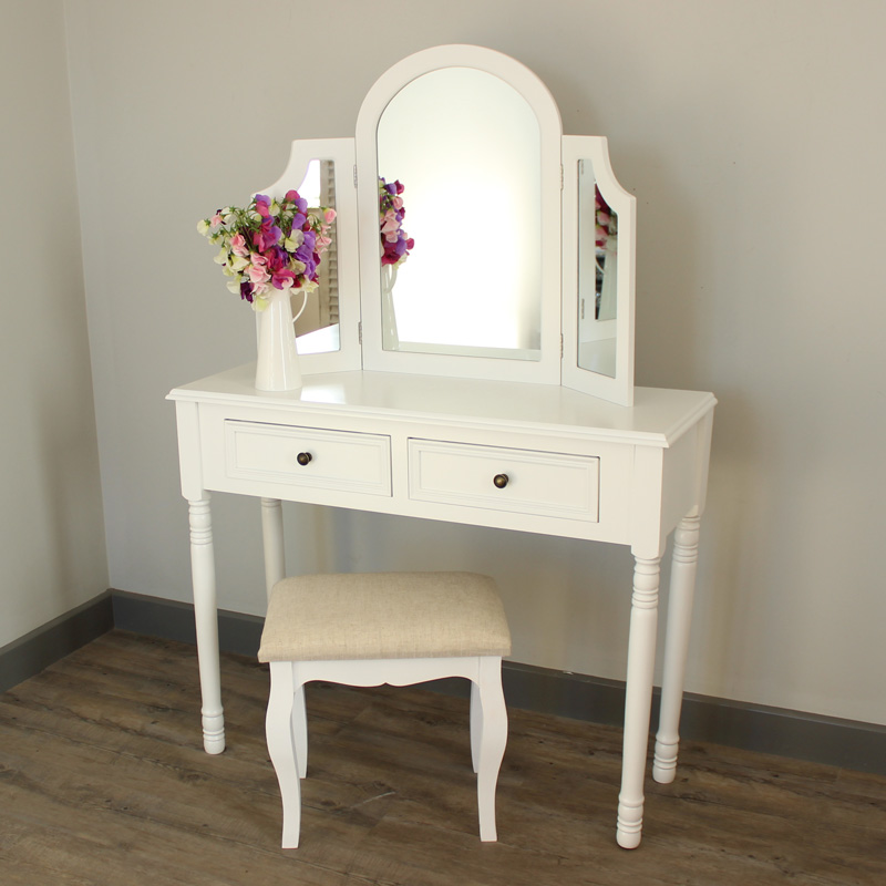 Eliza White Range - Dressing Table, Triple mirror and stool