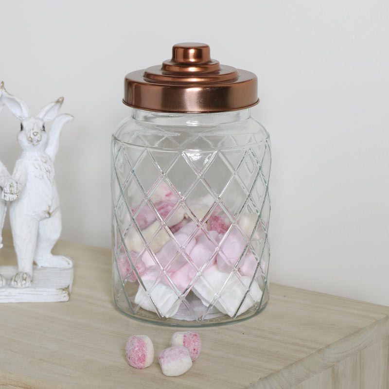 Embossed Glass Decorative Storage Jar Cannister Container Copper