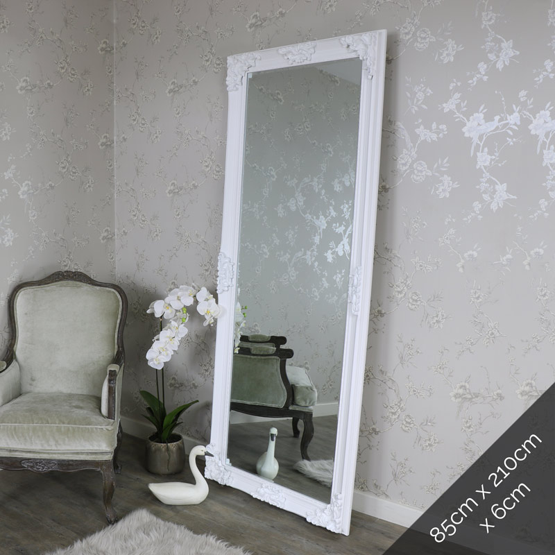 Extra extra large ornate white full length wall floor for Floor wall mirror