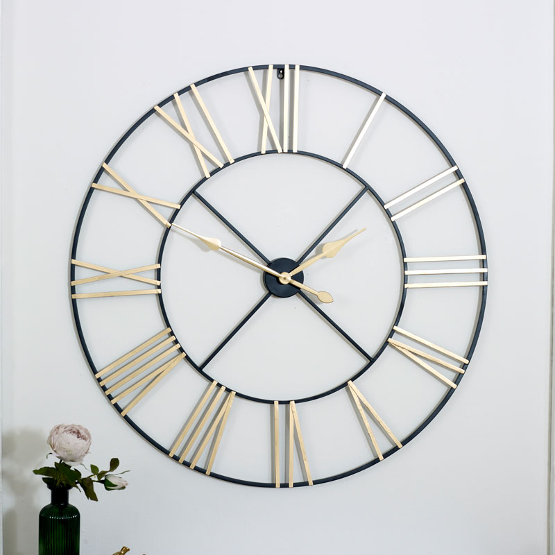 Extra Large Black Gold Skeleton Wall Clock Iron Wall