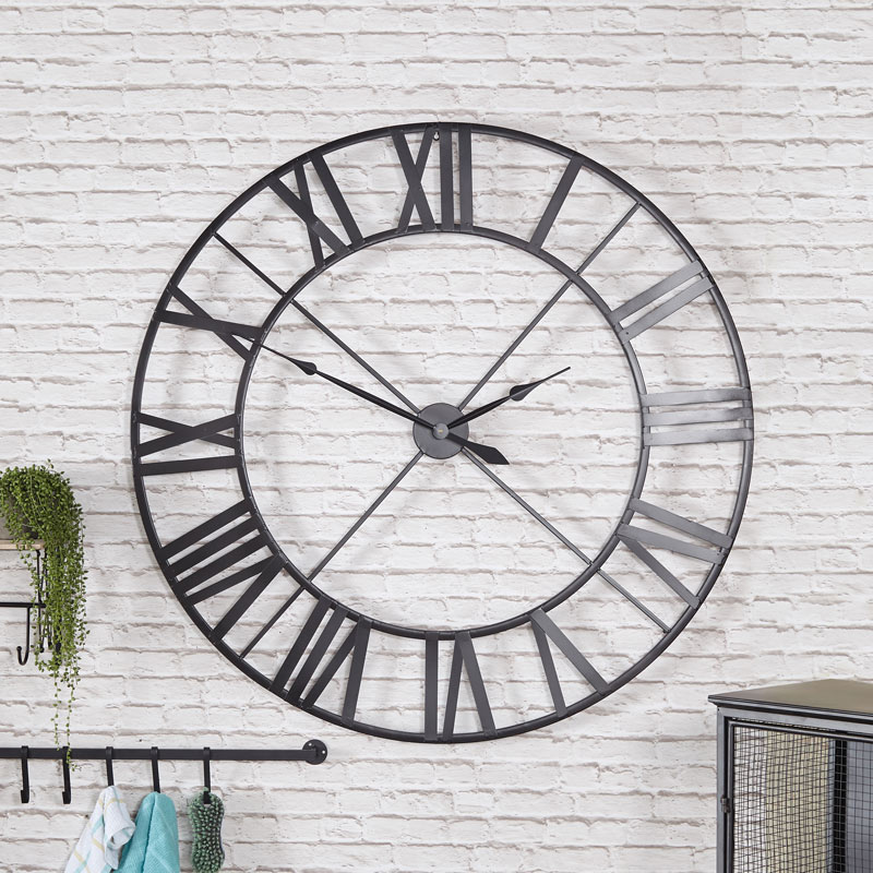 Extra Large Black Skeleton Wall Clock