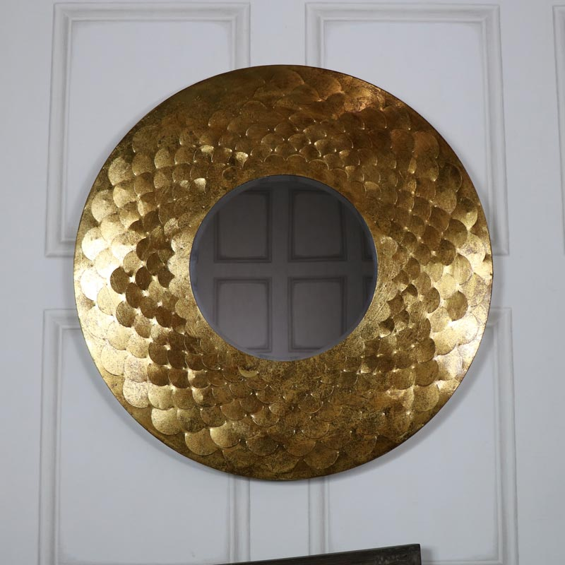 Extra large round antique gold scale mirror 81cm x 81cm for Extra large round mirror