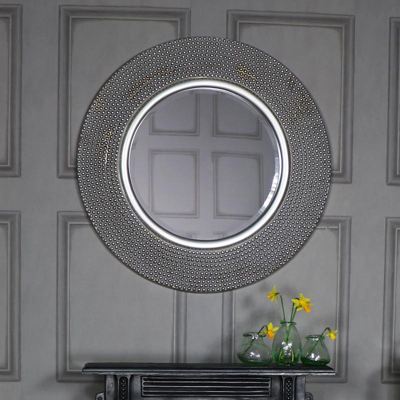 Extra large round antique silver beaded wall mirror for Extra large round mirror