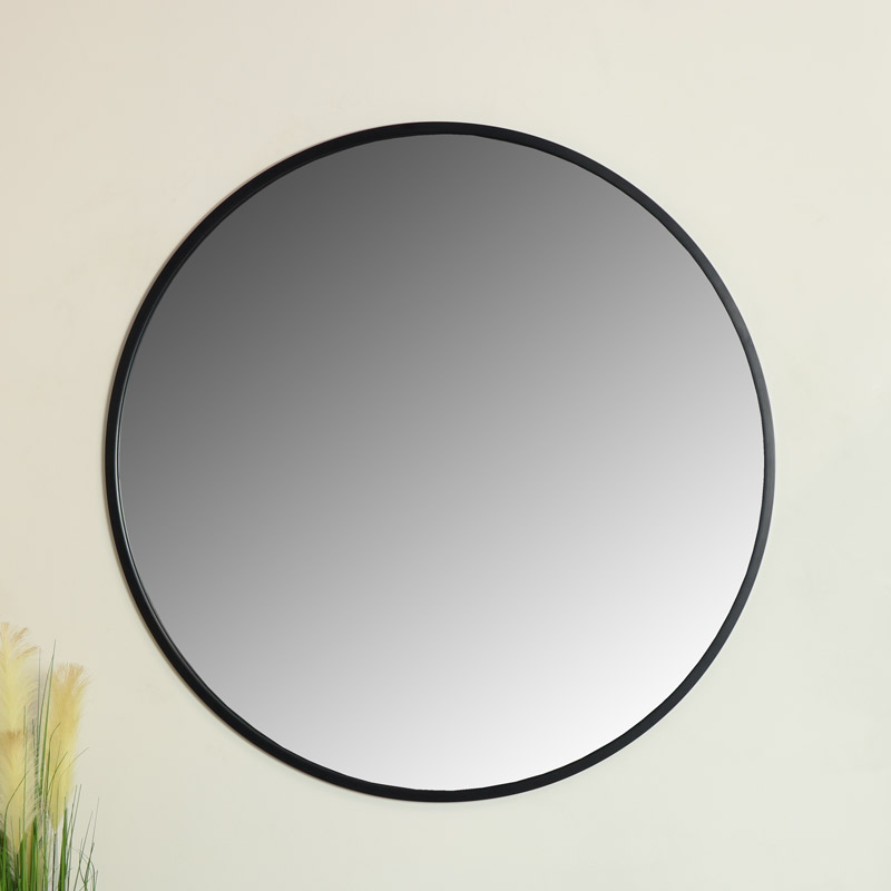 Extra Large Round Black Wall Mirror 120cm x 120cm
