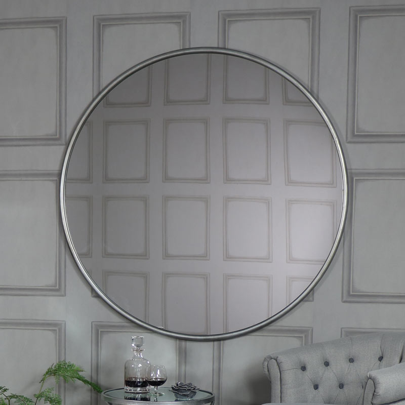extra large round silver wall mirror 120cm x 120cm melody maison. Black Bedroom Furniture Sets. Home Design Ideas