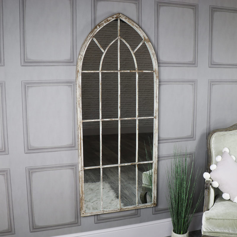 Extra Large Rustic Arched Window Mirror 67cm x 169cm