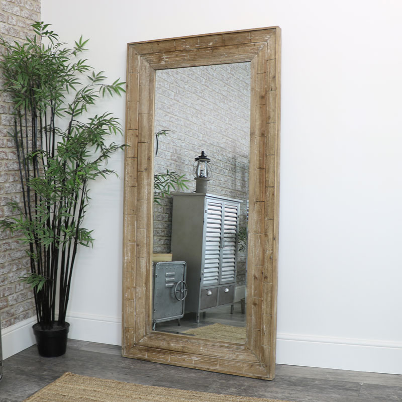 Extra Large Rustic Wooden Framed Wall Mirror 91cm x 183cm