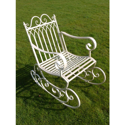 Antique White Garden Rocking Chair
