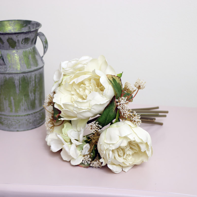 Faux Cream Peony Rose Posy Bouquet