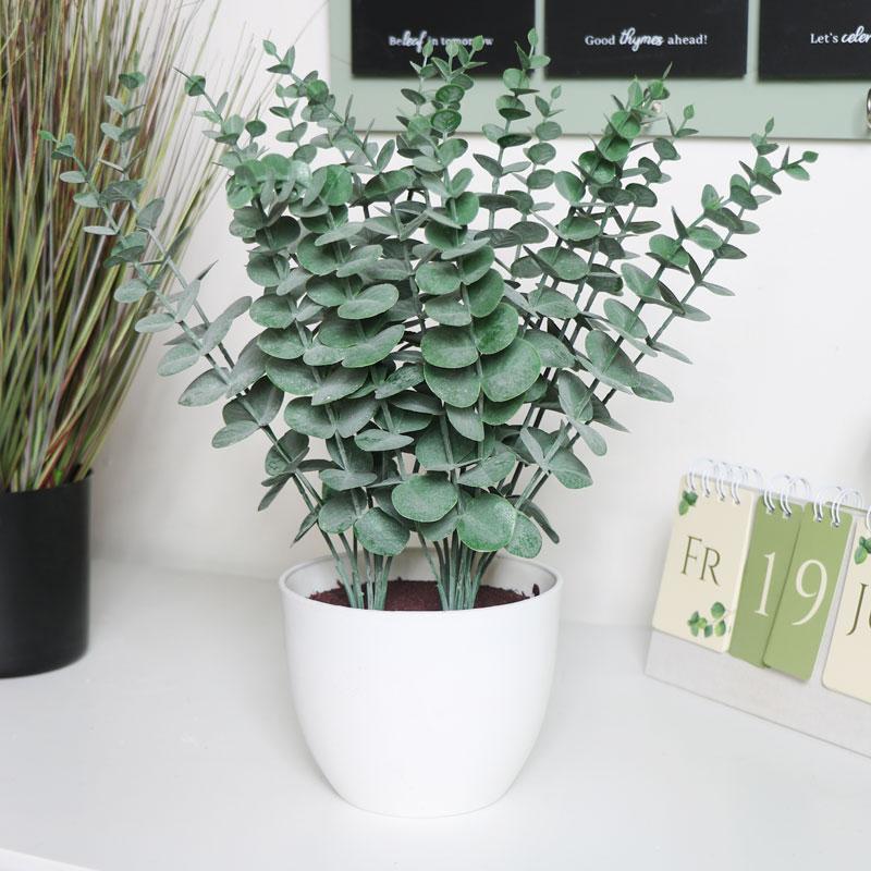 Faux Eucalyptus in White Pot