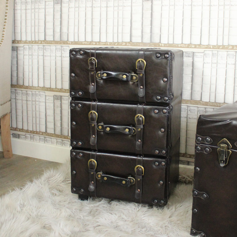 Faux Leather Three Drawer Chest